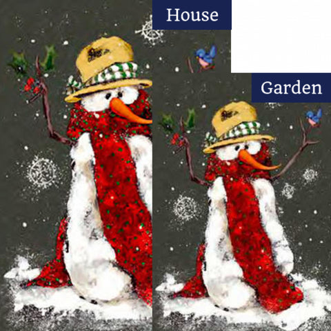 Red Scarf Snowman Flags Set (2 Pieces)
