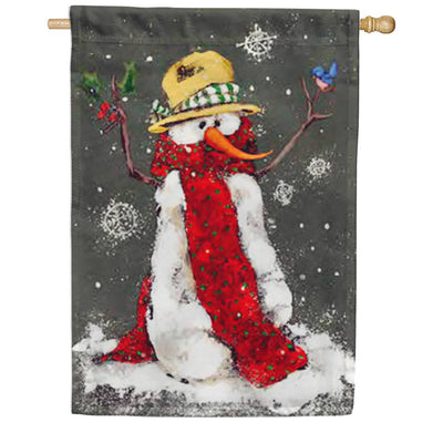 Red Scarf Snowman House Flag
