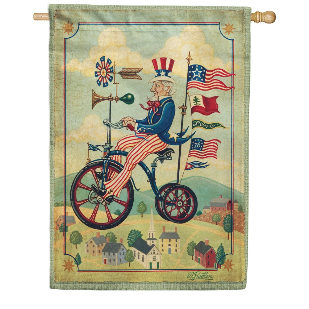 Patriotic Bikes 'n Stripes House Flag