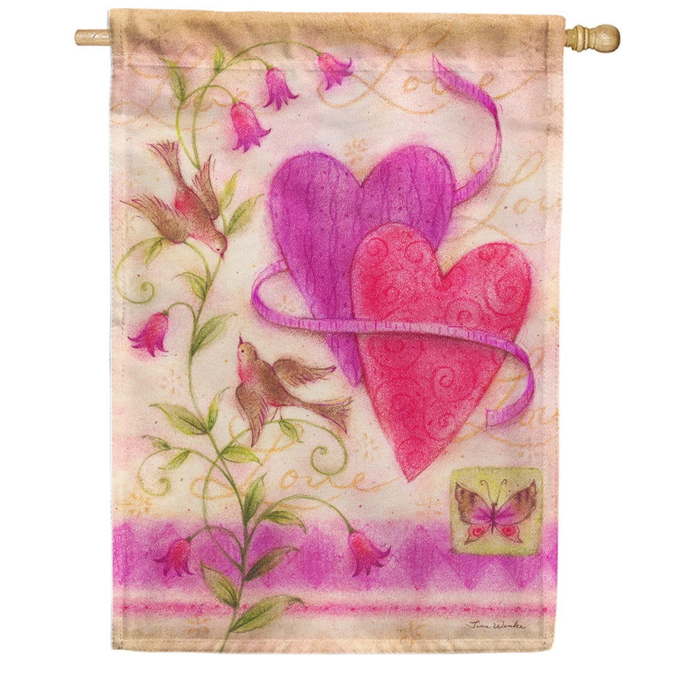 Love Birds Hearts House Flag