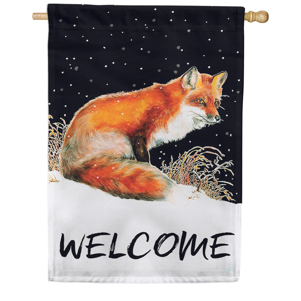 Winter Welcome Fox House Flag