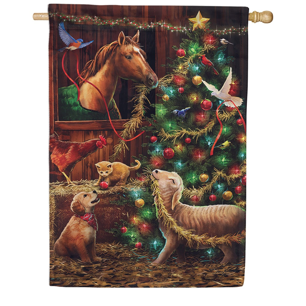 Christmas Barn House Flag