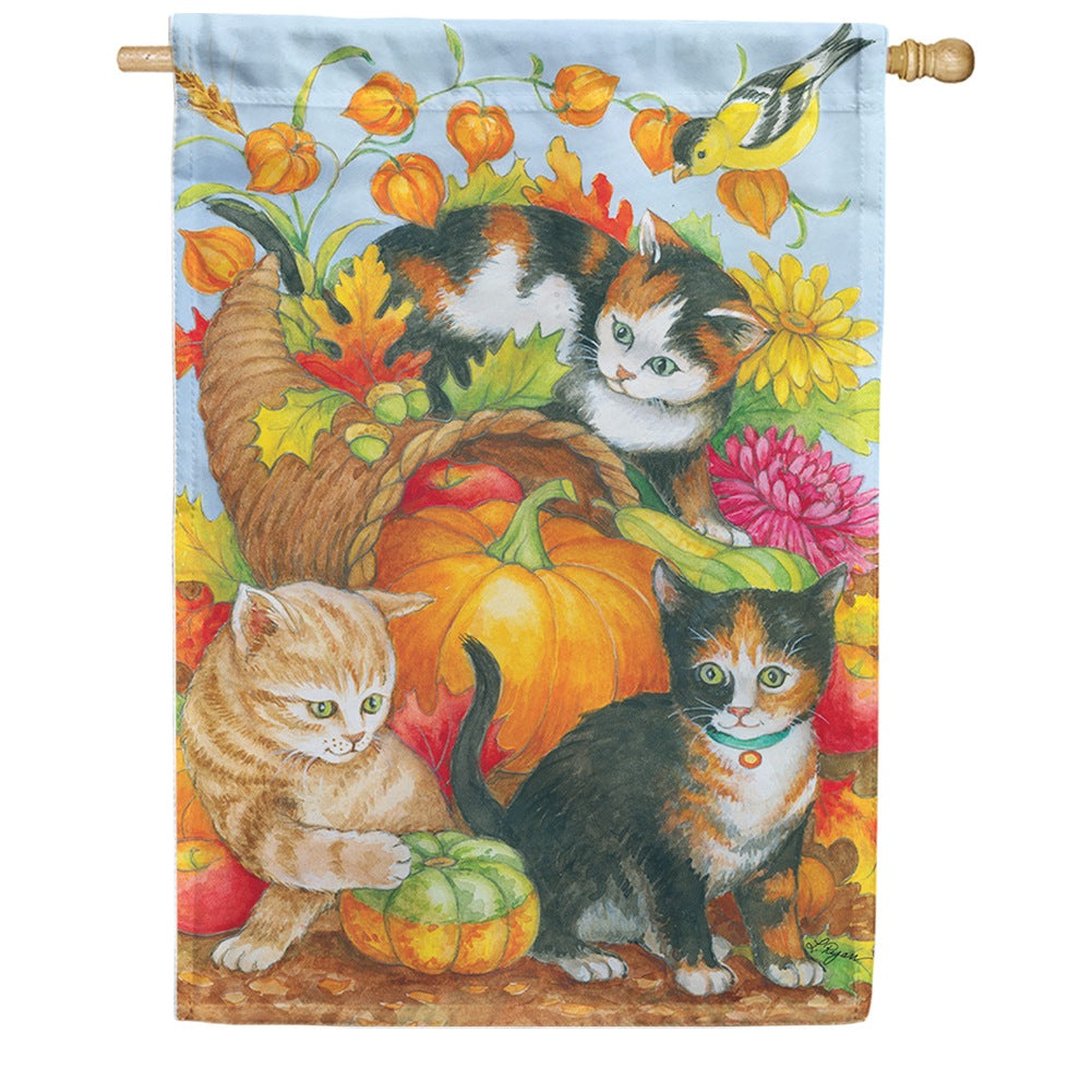 Kitten Cornucopia House Flag