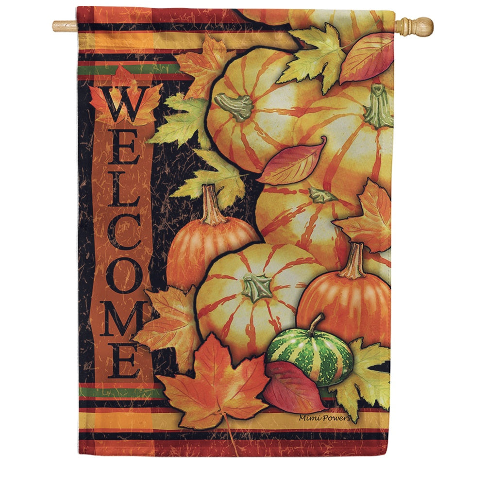 Tumbled Gourds Welcome House Flag
