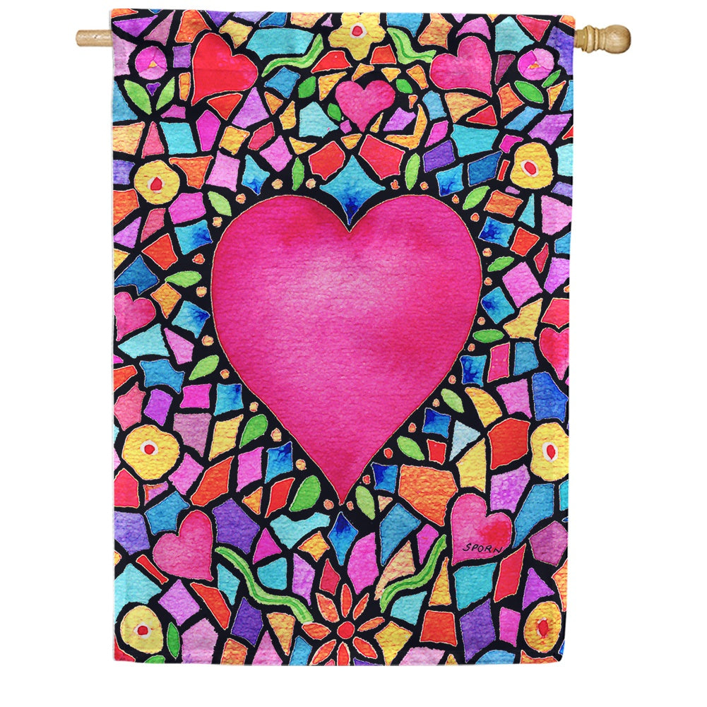 Kaleidoscope Heart House Flag