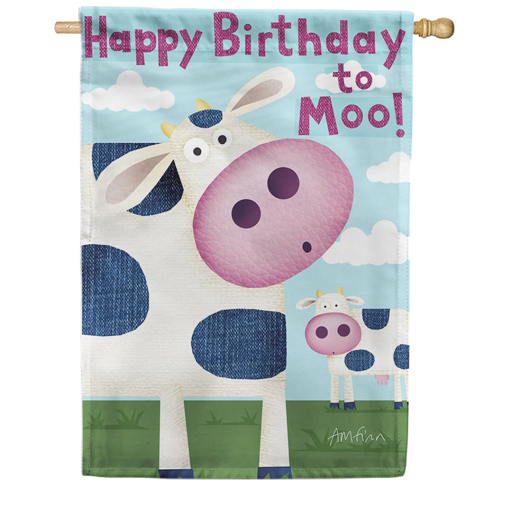 Happy Birthday Moo House Flag