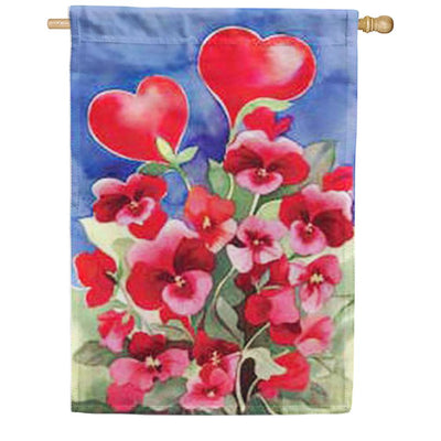 Toland Red Pansies House Flag