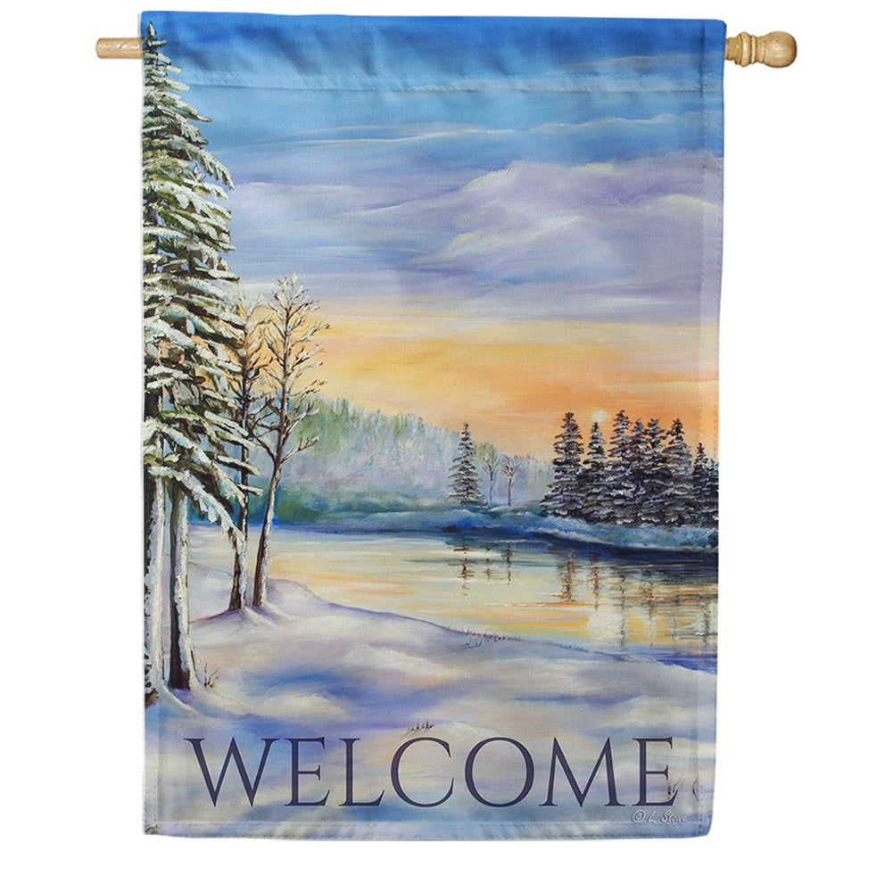 Winter River Welcome House Flag