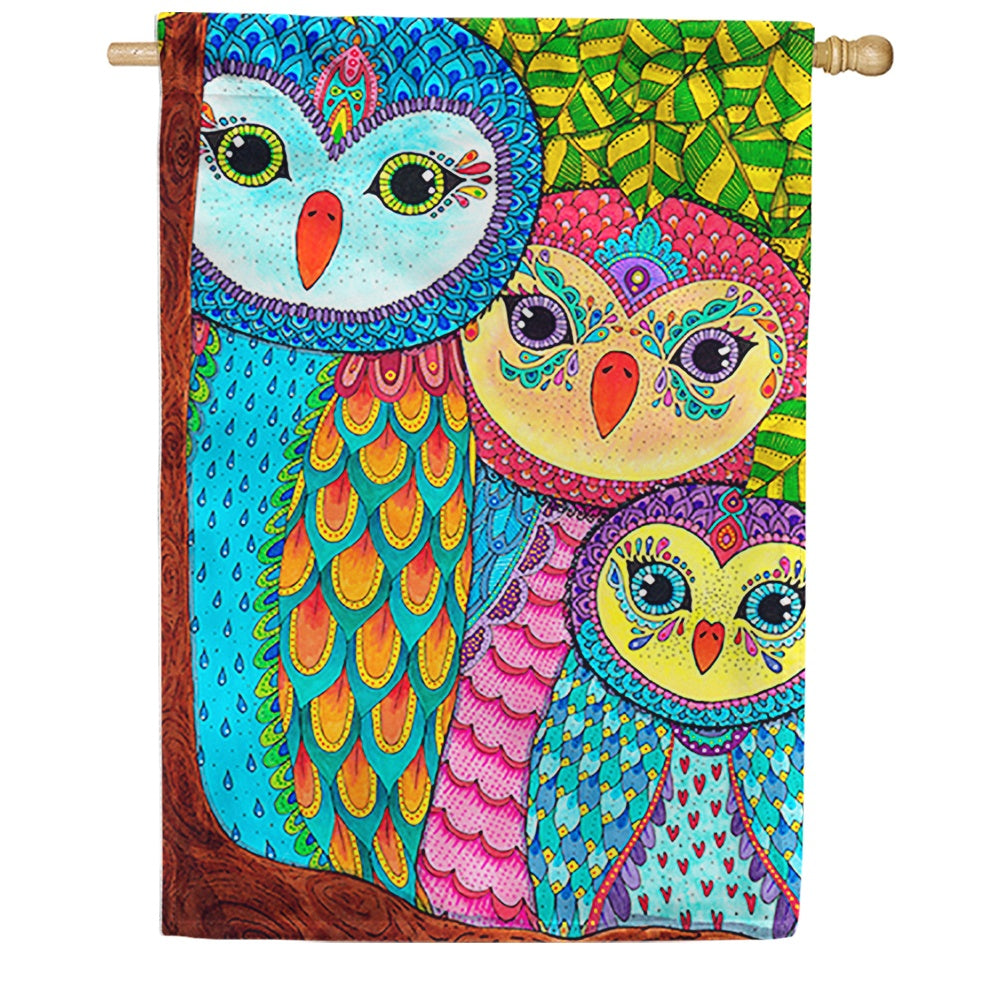 Owl Family Tree House Flag