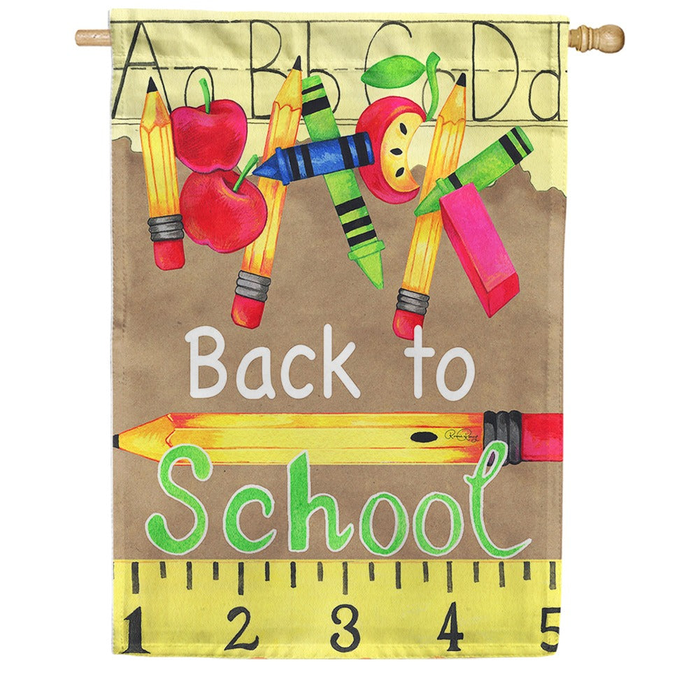 Back To School Supplies House Flag