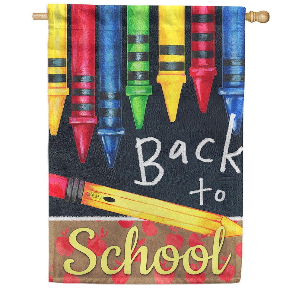 Back to School Crayons House Flag