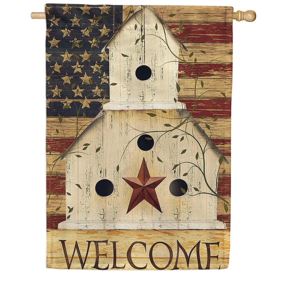 Americana Birdhouse Welcome House Flag