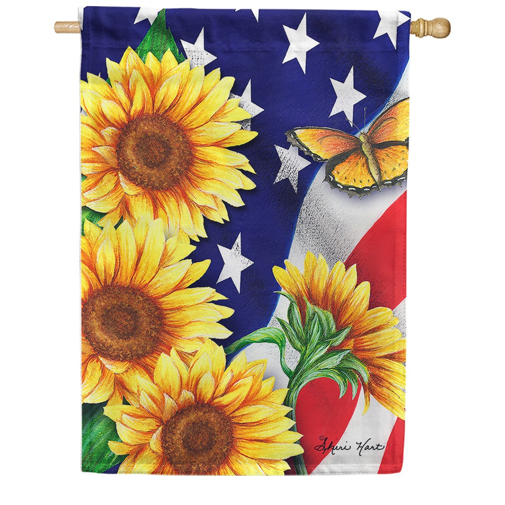 American Sunflowers Butterfly House Flag