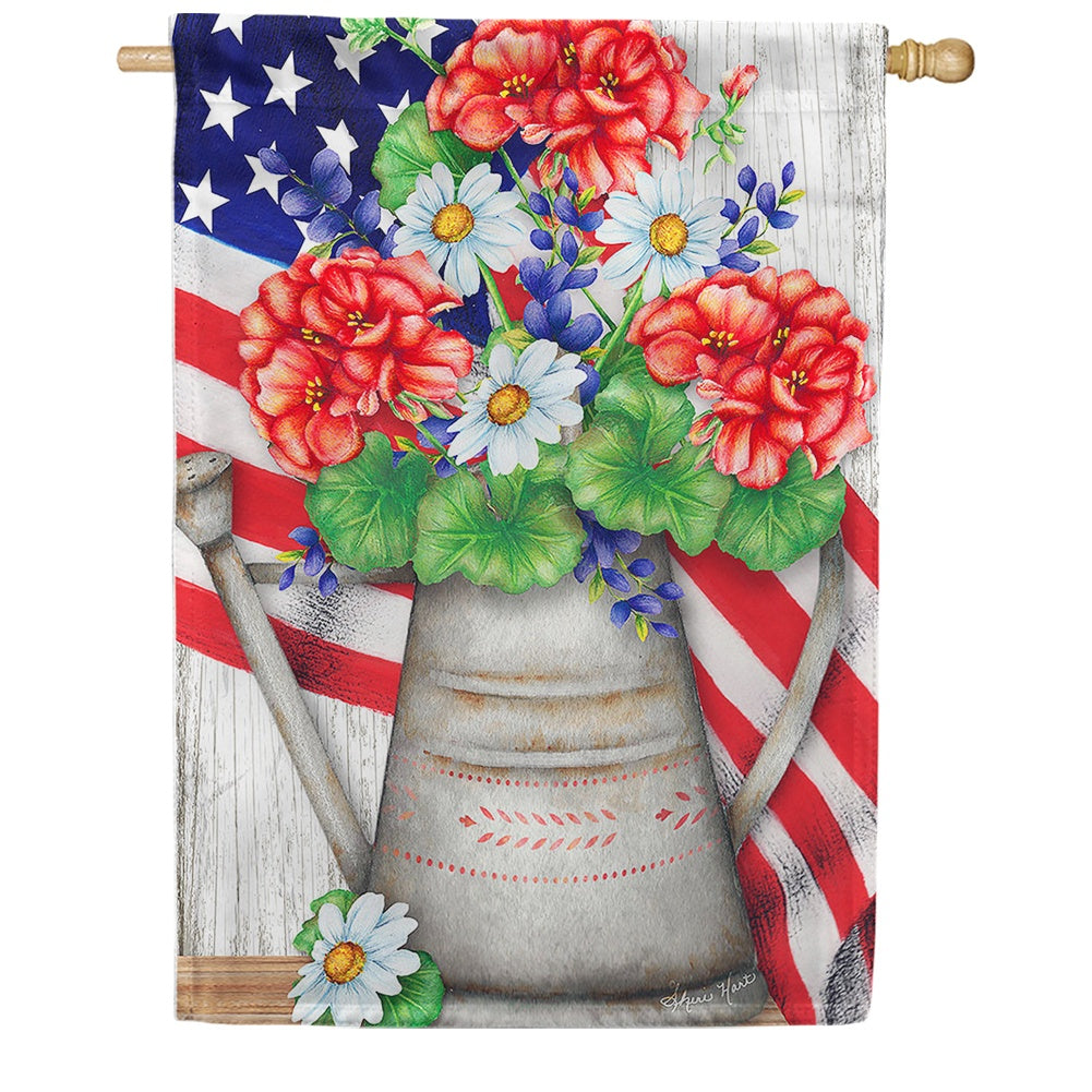 Patriotic Flower Bouquet House Flag