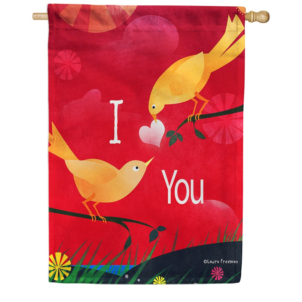 Valentine Birds House Flag