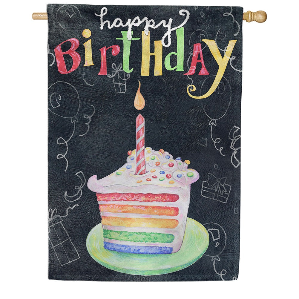 Rainbow Cake Birthday House Flag