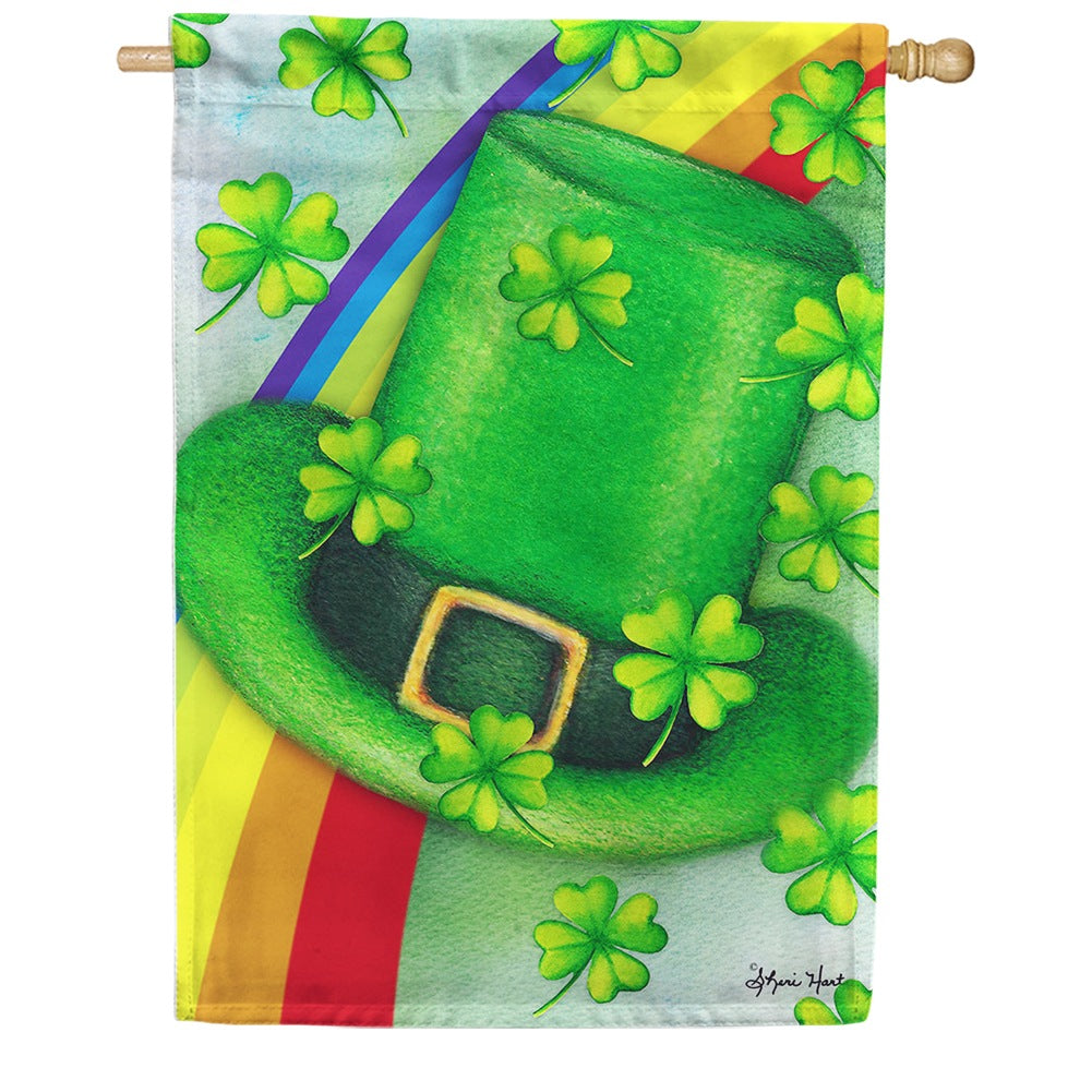 Leprechaun Hat Rainbow House Flag