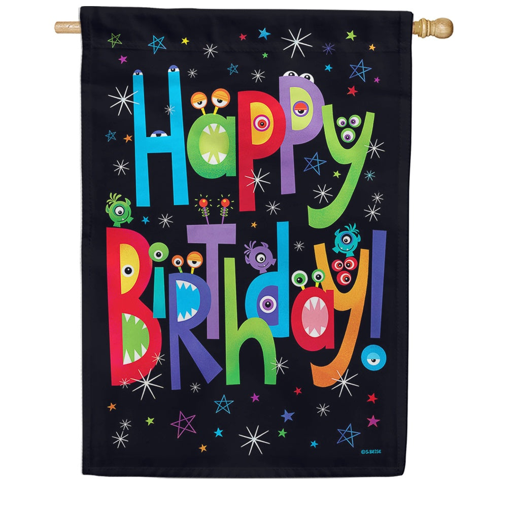 Monster Birthday House Flag