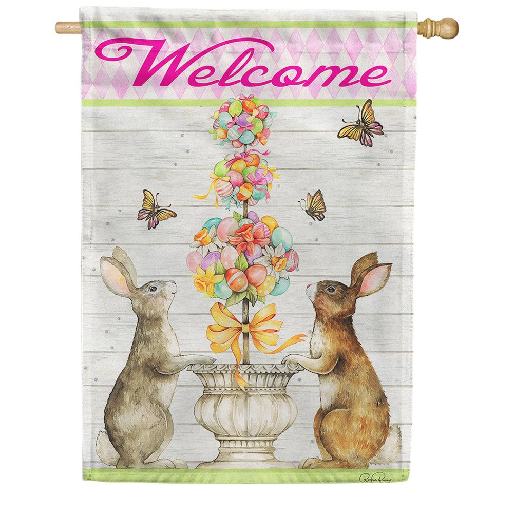 Easter Bunny Topiary House Flag