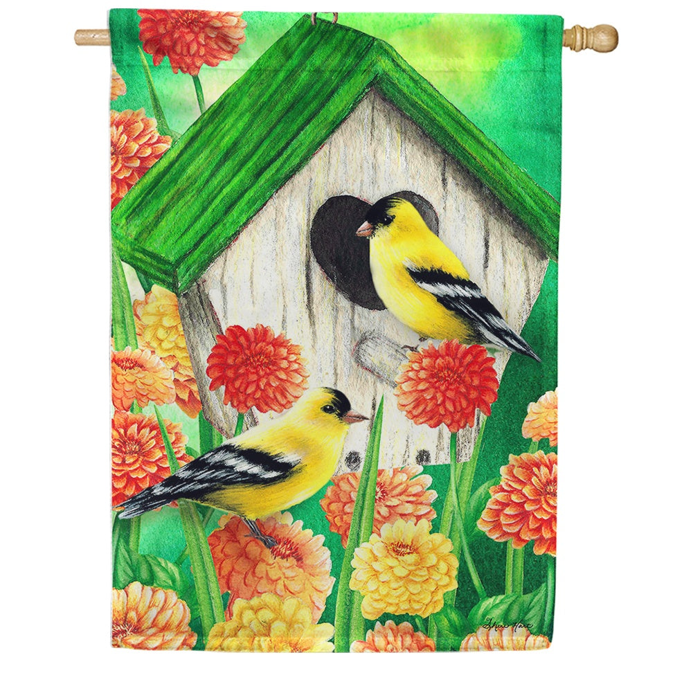 Goldfinch Birdhouse House Flag