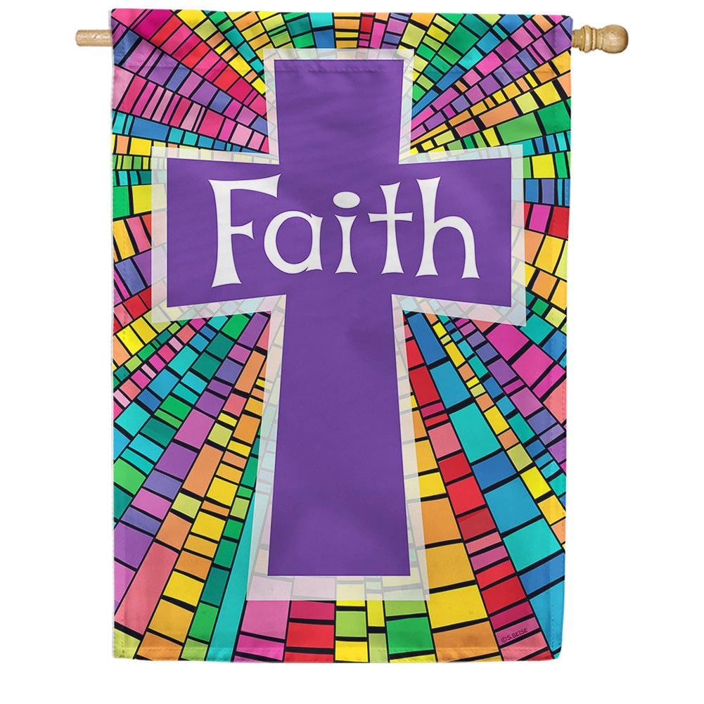 Faith Cross Purple House Flag