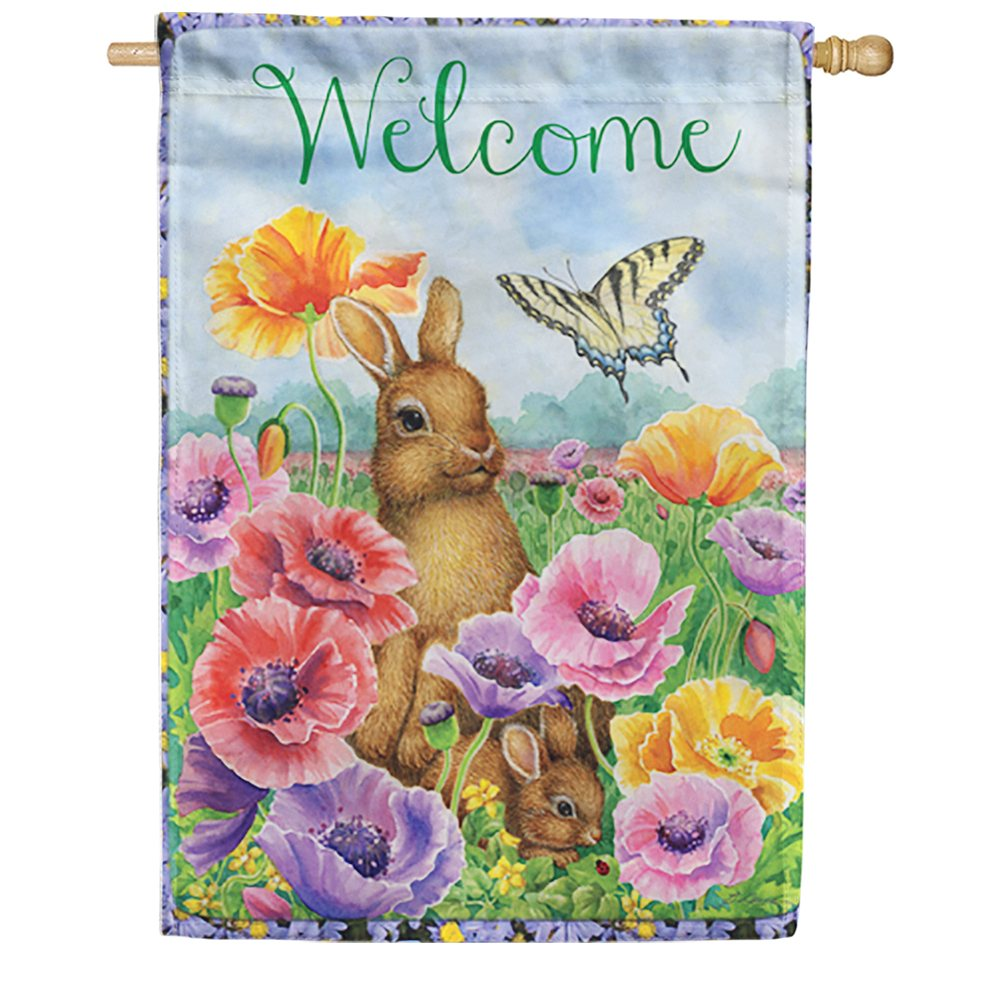 Bunny Poppies House Flag