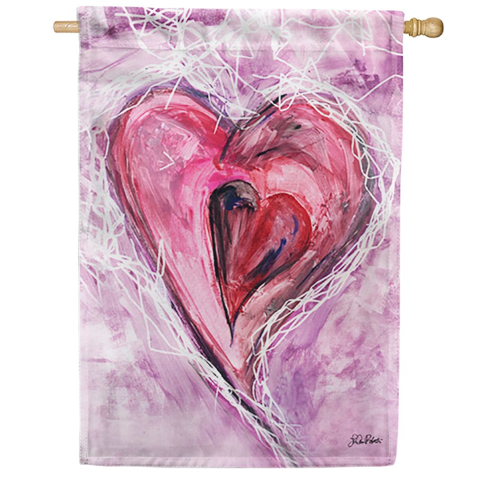 Watercolor Heart House Flag