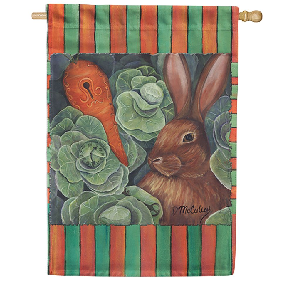 Late For A Date Bunny House Flag