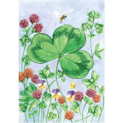 Clover And Bee Garden Flag