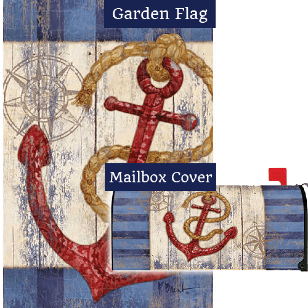 Rustic Anchor And Compass Flag Mailwrap Set (2 Pieces)