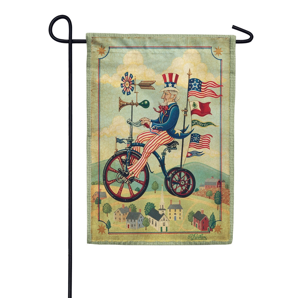 Patriotic Bikes 'n Stripes Garden Flag
