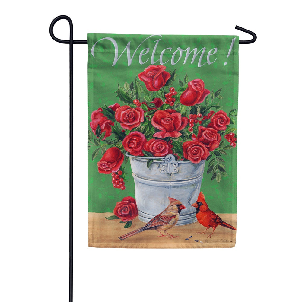 Crimson Cardinals Garden Flag