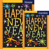 Toland Happy New Year Flags Set (2 Pieces)
