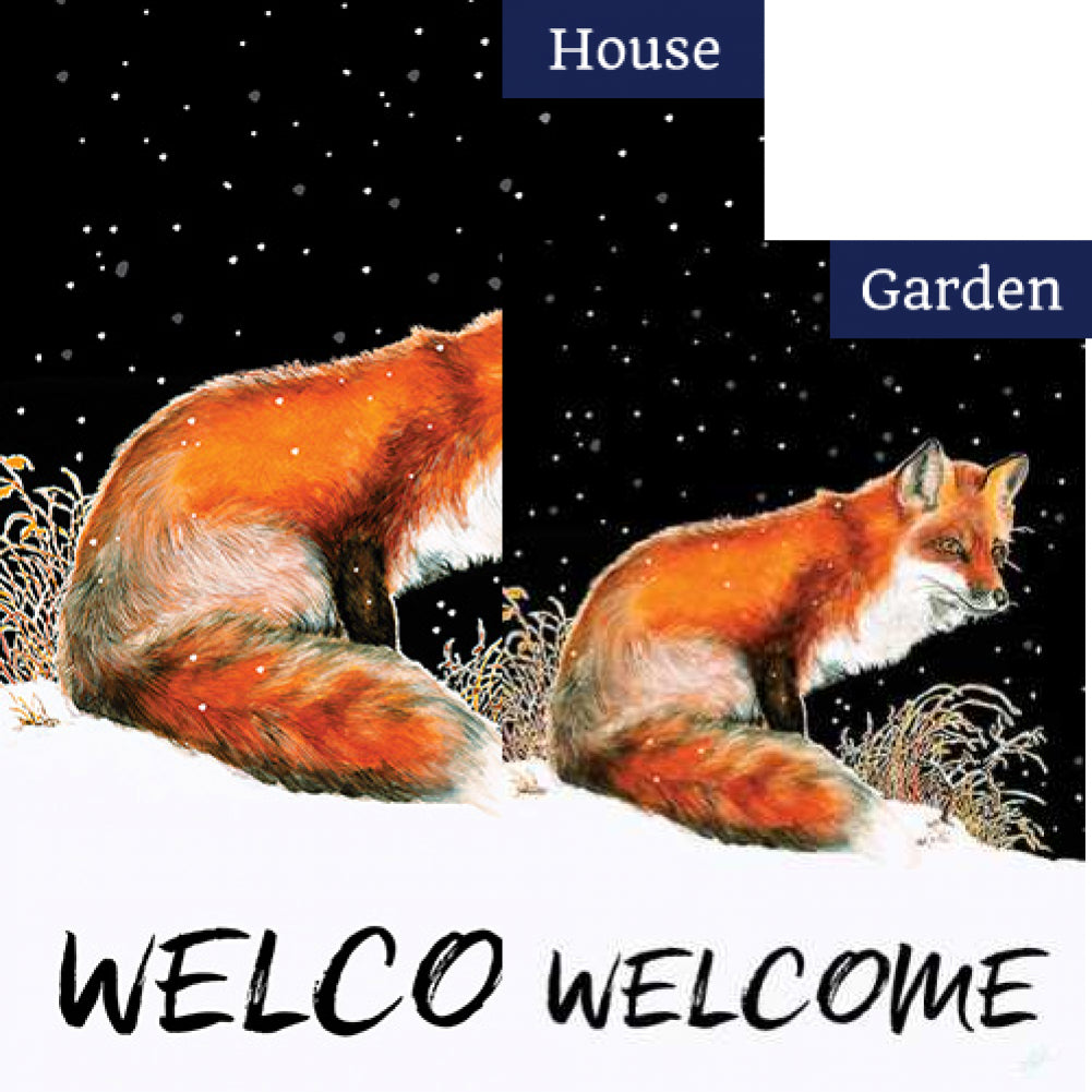 Winter Welcome Fox Flags Set (2 Pieces)