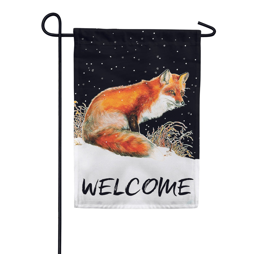 Winter Welcome Fox Garden Flag