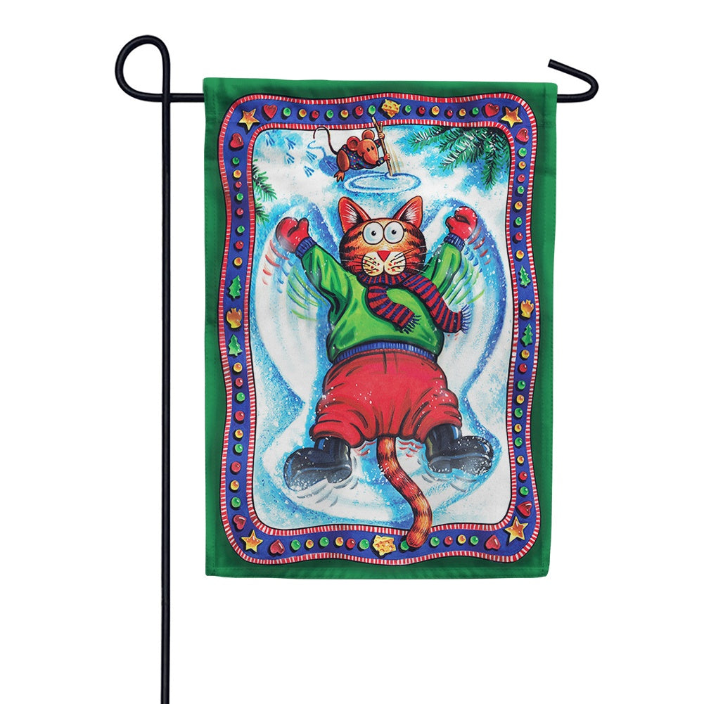 Snow Angel Kitty Garden Flag
