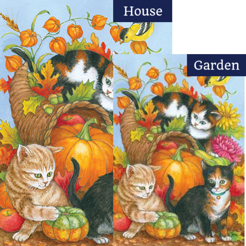 Kitten Cornucopia Flags Set (2 Pieces)