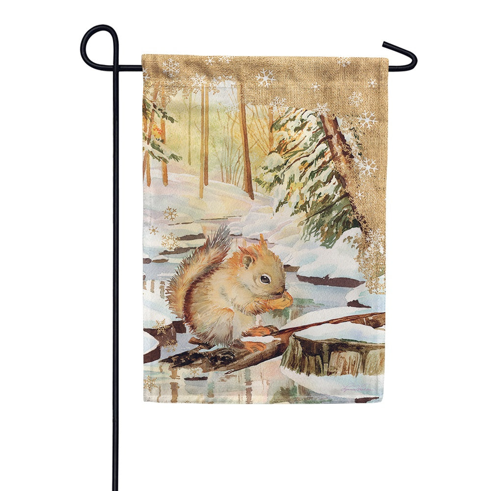 Snowy Squirrel Garden Flag