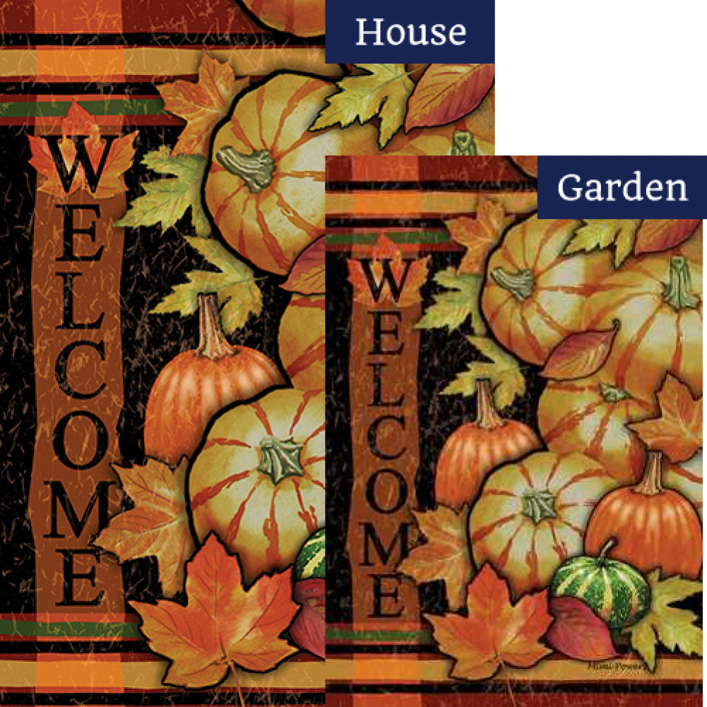 Tumbled Gourds Welcome Flags Set (2 Pieces)