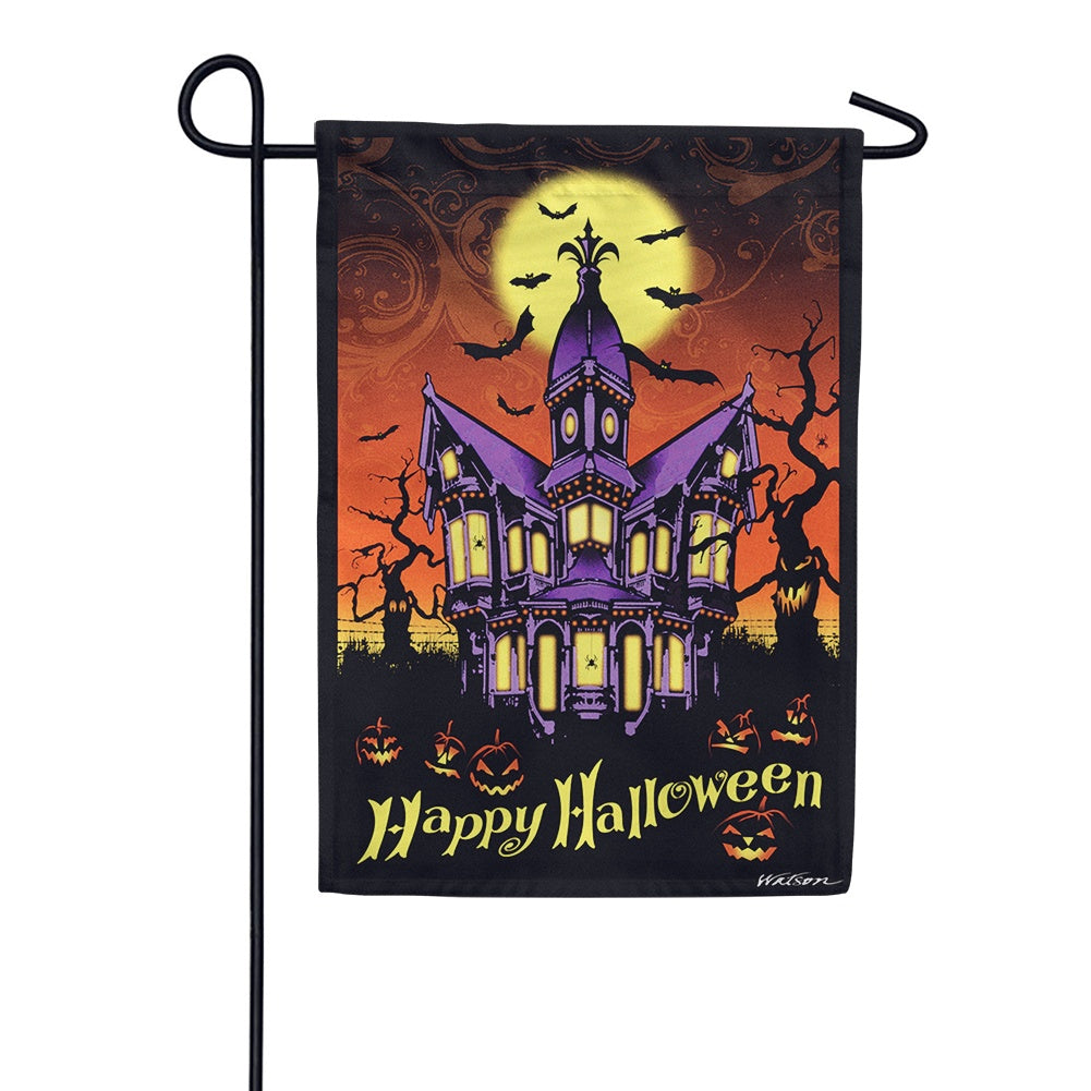 Halloween Manor Garden Flag