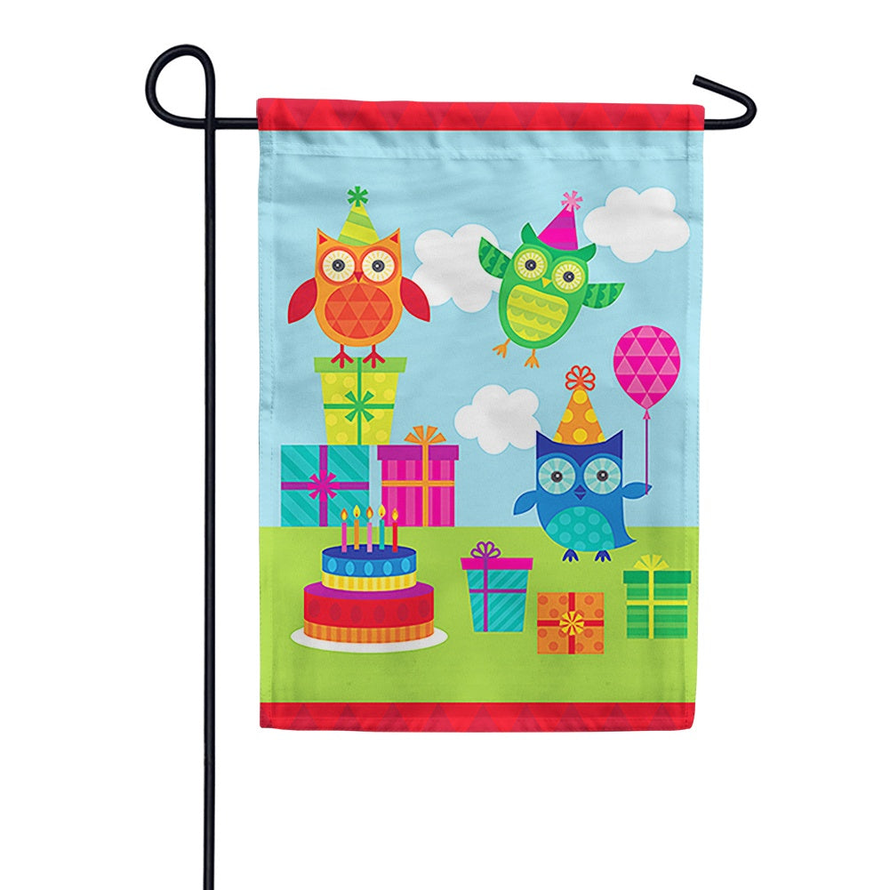 Party Owls Garden Flag