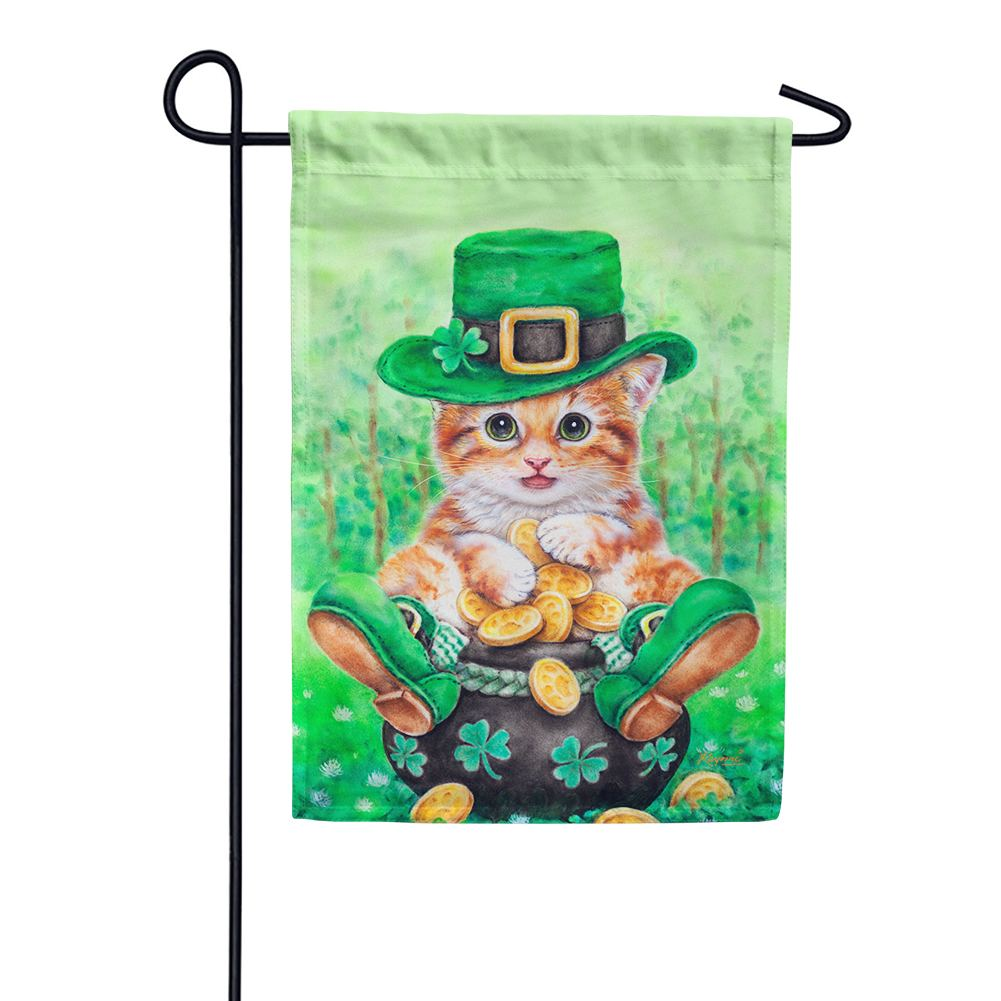 Clover Kitty Garden Flag
