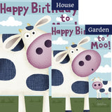 Happy Birthday Moo Flags Set (2 Pieces)