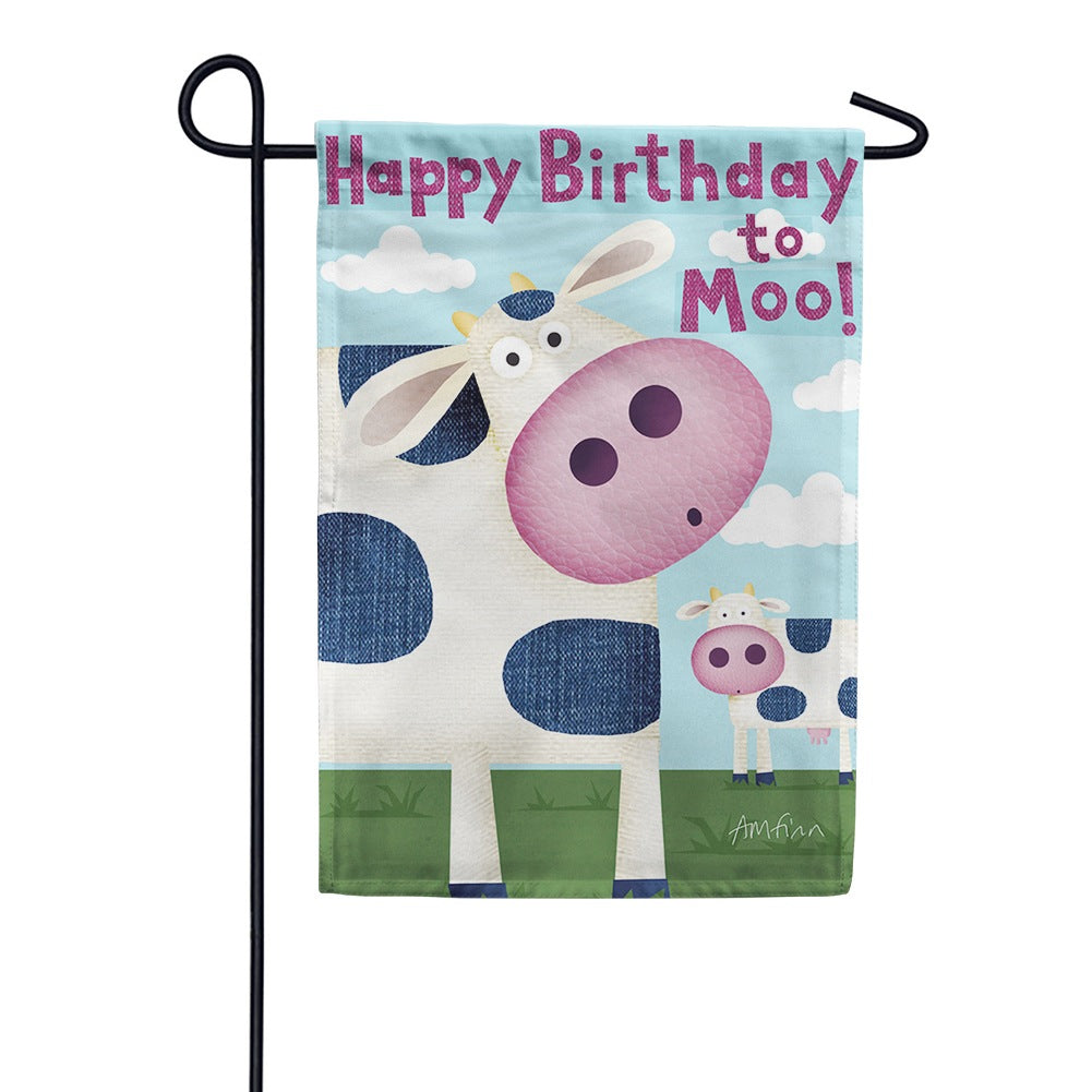 Happy Birthday Moo Garden Flag