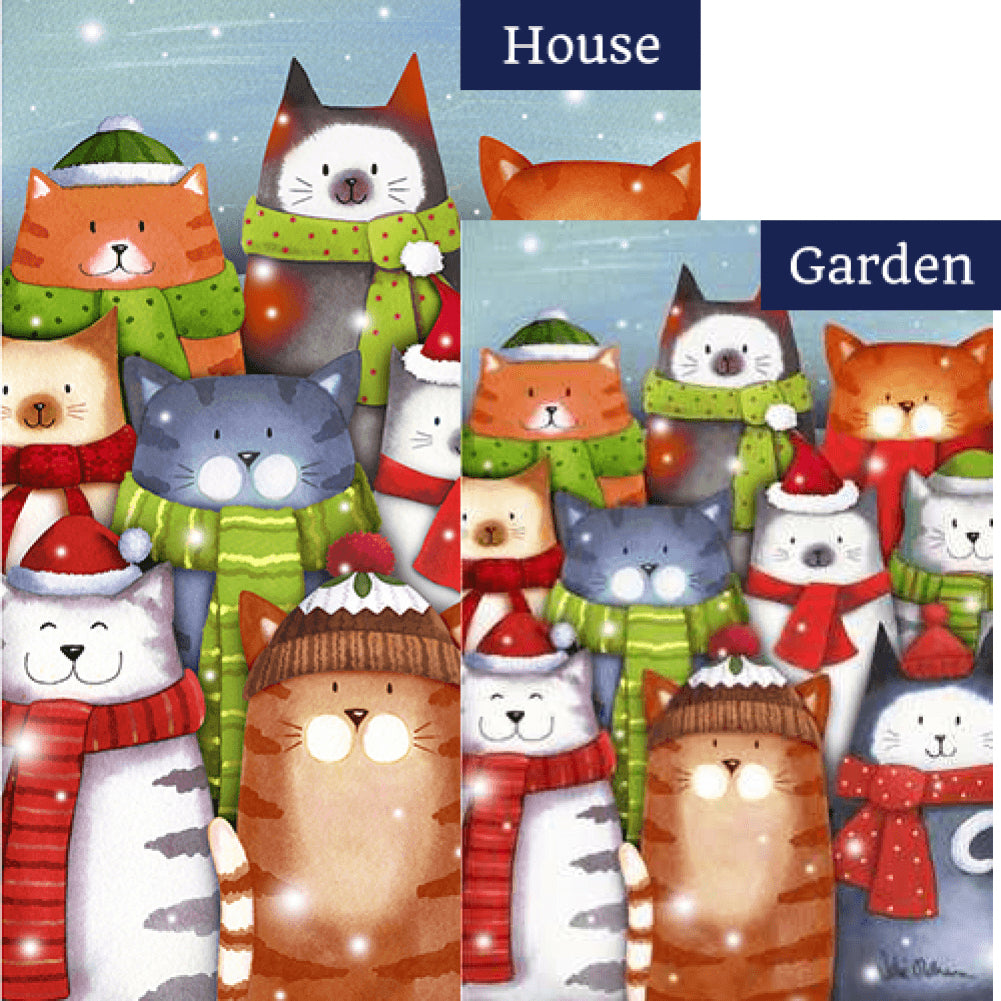 Cat Caroling Flags Set (2 Pieces)