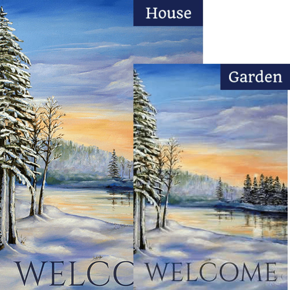 Winter River Welcome Flags Set (2 Pieces)