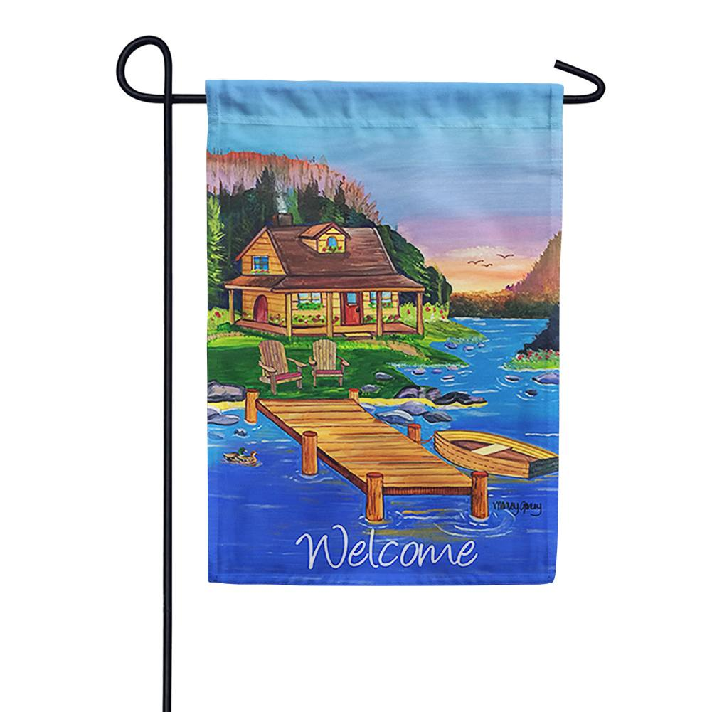 Cabin On The Lake Garden Flag