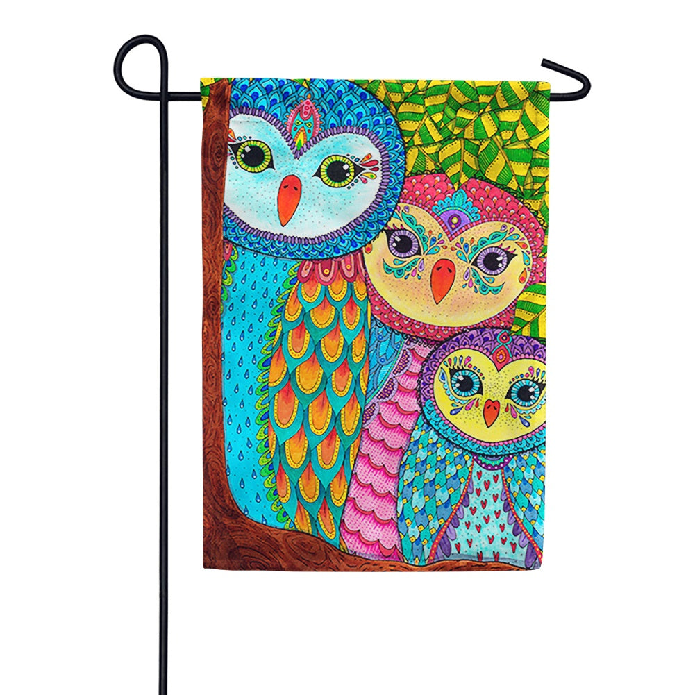Owl Family Tree Garden Flag