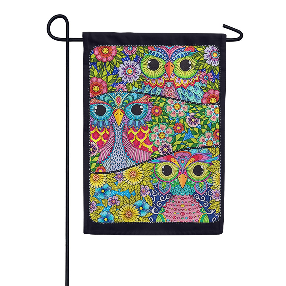 Three Owls Garden Flag