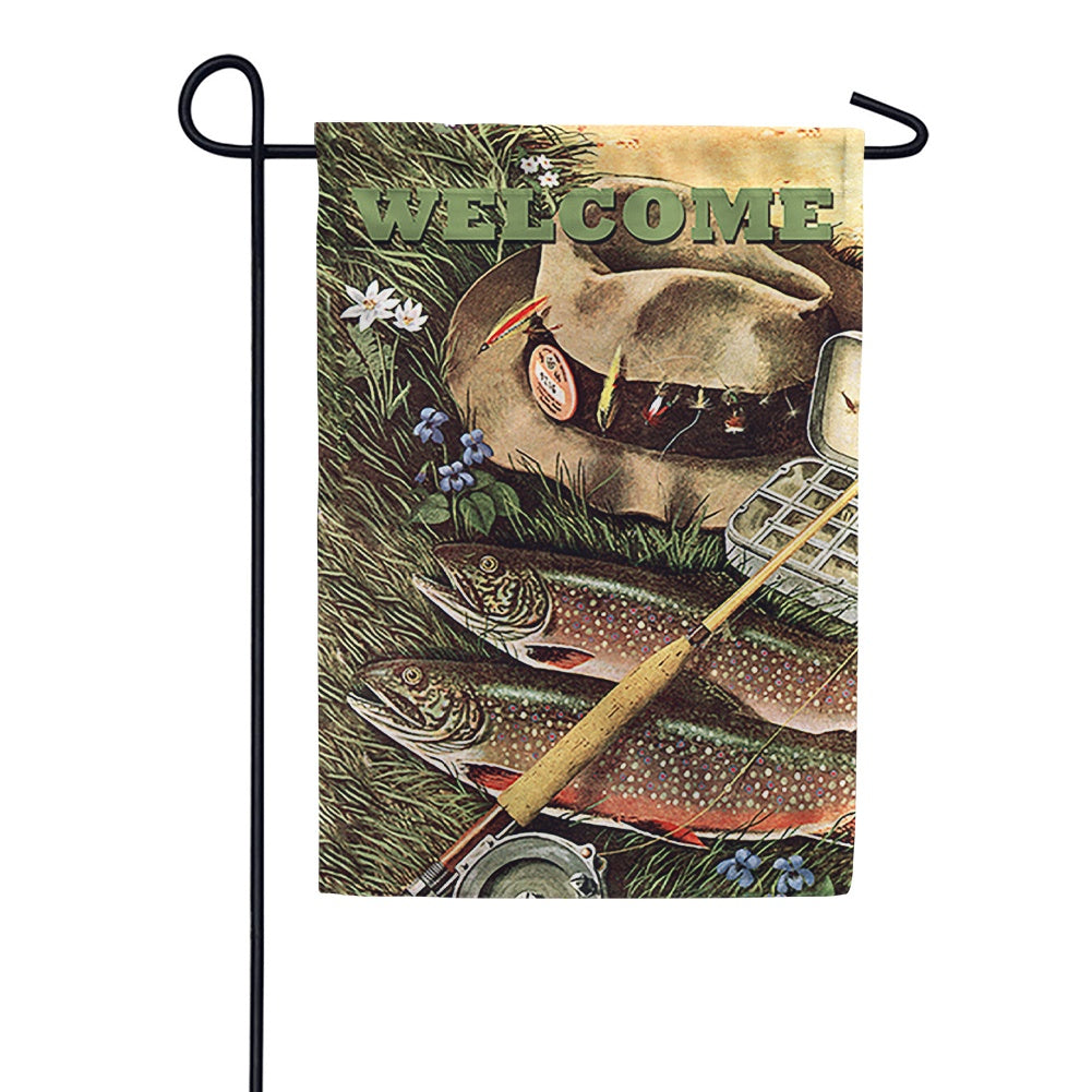 Fly Fishing Welcome Garden Flag